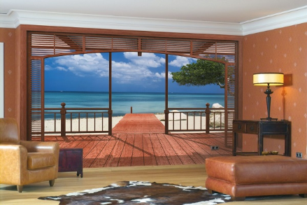 Beach and Sea view from Villa wall mural